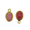 Wholesale Bezel Charm Pendant - Gold Plated Sterling Silver Charm - Natural Pink Opal- Tiny Oval Shape-October Birthstone