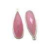Wholesale Sterling Silver Bezel Charm Pendant - 34x11mm Elongated Teardrop - Pink Chalcedony