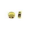 Wholesale Gold Plated over Sterling Silver Circle Shaped Slider Beads with Silicone - Double Hole Stopper Beads (1 piece)