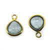 Wholesale Bezel Charm Pendant Natural Aquamarine  Tiny Heart Shape March Birthstone