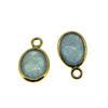 Wholesale Bezel Charm Pendant  Natural Aquamarine Tiny Oval Shape March Birthstone