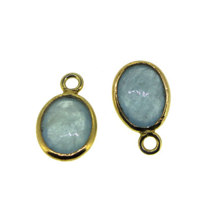 Wholesale Bezel Charm Pendant  Natural Aquamarine Tiny Oval Shape March Birthstone
