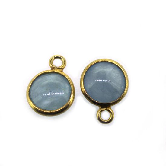 Wholesale Bezel Charm Pendant  Natural Aquamarine Tiny Round Shape March Birthstone