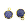 Wholesale Bezel Charm Pendant Natural Tanzanite Tiny Round Shape December Birthstone