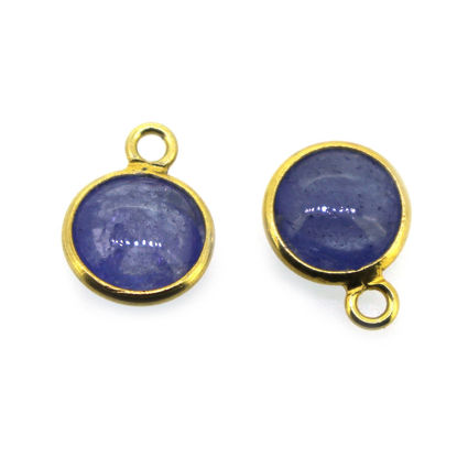 Wholesale Bezel Charm Pendant Natural Tanzanite Tiny Round Shape December Birthstone