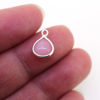 Wholesale Bezel Charm Pendant - Sterling Silver Charm - Natural Pink Opal -Tiny Heart Shape -7mm