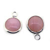 Wholesale Bezel Charm Pendant - Sterling Silver Charm - Natural Pink Opal -Tiny Round Shape