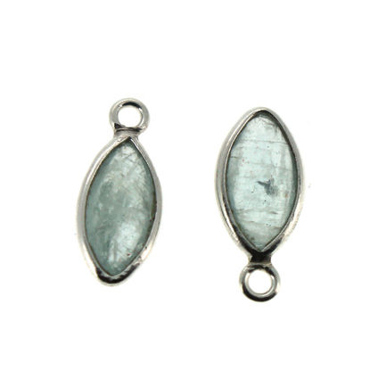 Wholesale Bezel Charm Pendant - Sterling Silver Charm - Natural Aquamarine -Tiny Marquise Shape -6x13mm