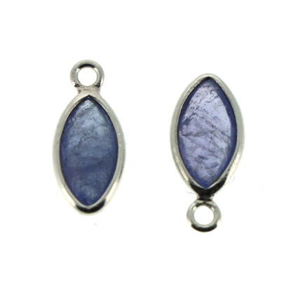 Wholesale Bezel Charm Pendant - Sterling Silver Charm - Natural Tanzanite -Tiny Marquise Shape -6x13mm