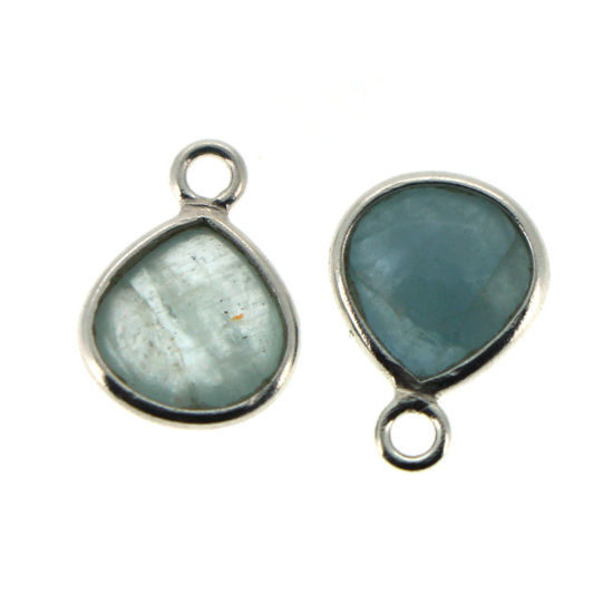 Wholesale Bezel Charm Pendant - Sterling Silver Charm - Natural Aquamarine -Tiny Heart Shape -7mm