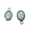 Wholesale Bezel Charm Pendant - Sterling Silver Charm - Natural Aquamarine -Tiny Oval Shape-March Birthstone
