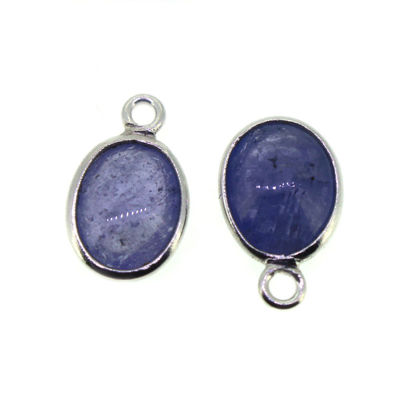 Wholesale Bezel Charm Pendant - Sterling Silver Charm - Natural Tanzanite-Tiny Oval Shape-December Birthstone