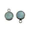 Wholesale Bezel Charm Pendant - Sterling Silver Charm - Natural Aquamarine-Tiny Round Shape-March Birthstone