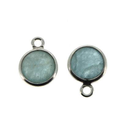 Wholesale Bezel Charm Pendant - Sterling Silver Charm - Natural Aquamarine-Tiny Round Shape-March Birthstone