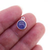 Wholesale Bezel Charm Pendant - Sterling Silver Charm - Natural Tanzanite-Tiny Round Shape-December Birthstone
