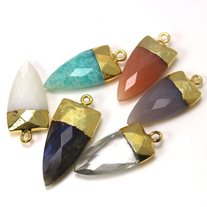 Wholesale Arrowhead Gemstone Pendant with 24K Gold Plating -  28.5mm