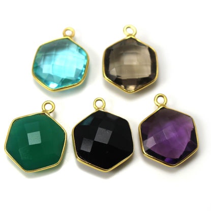 Wholesale Gold Over Sterling Silver Bezel Gemstone Pendant - Hexagon Shape -12mm (ONE OF A KIND)