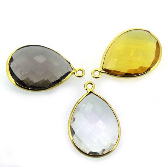 Wholesale Gold  Bezel Gemstone Pendant-Teardrop Shape 15mm -(ONE OF A KIND)