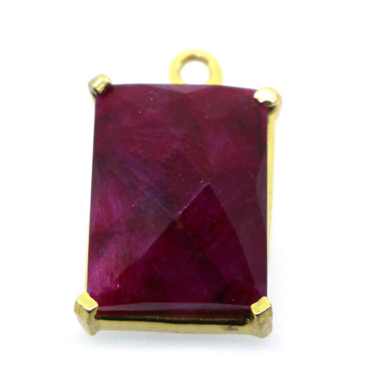 Wholesale Gold  Bezel Gemstone Pendant-Rectangle Shape-Ruby dyed(ONE OF A KIND)