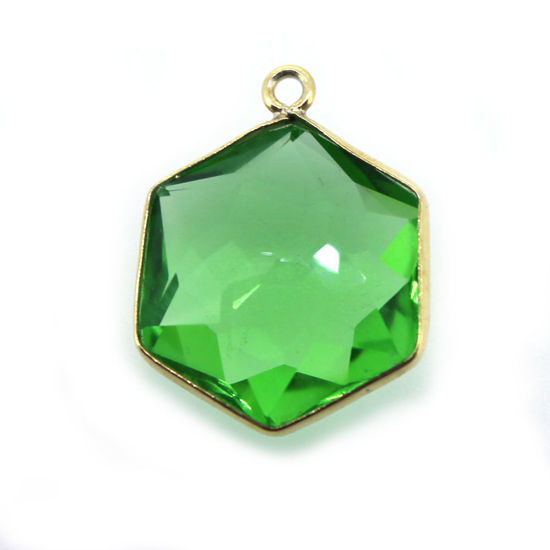 Wholesale Gold Over Sterling Silver Bezel Gemstone Pendant - Hexagon Shape - PERIDOT Quartz-16mm (ONE OF A KIND)