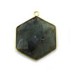 Wholesale Gold Over Sterling Silver Bezel Gemstone Pendant - Hexagon Shape - Labradorite -20mm (ONE OF A KIND)