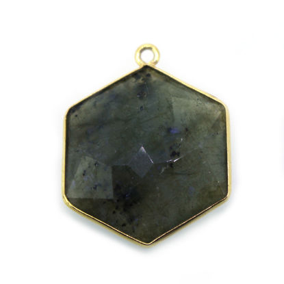 Wholesale Gold Over Sterling Silver Bezel Gemstone Pendant - Hexagon Shape - Labradorite -20mm (ONE OF A KIND)