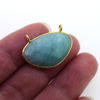 Wholesale Gold  Bezel Gemstone Pendant-Kidney Shape-AMAZONITE -(ONE OF A KIND)