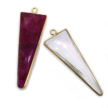 Wholesale Gold  Bezel Gemstone Charms-Triangle Shape -(ONE OF A KIND)