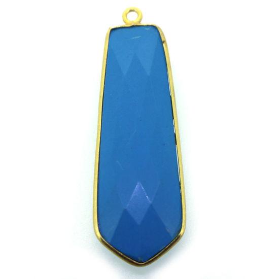 Wholesale Gold  Bezel Gemstone Pendant-Tie Shape-Turquoise 40mm-(ONE OF A KIND)