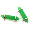 Wholesale One of A Kind- Gold Over Sterling Silver Bezel Gemstone Connector - Faceted Pencil  Shape-Natural Green Onyx