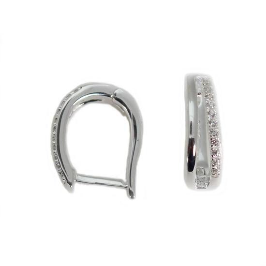 Wholesale Sterling Silver CZ Stone Oval Hoop Earrings -14mm (Sold Per Pair)