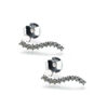Wholesale Sterling Silver Simple Curved Bar Earring Studs With CZ  -12mm (1 pair)