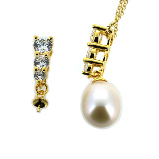 Wholesale Gold over Sterling Silver Peg Bail Cap with CZ Stones for Half Drilled Pearls and Beads -  past present future(1 pc)