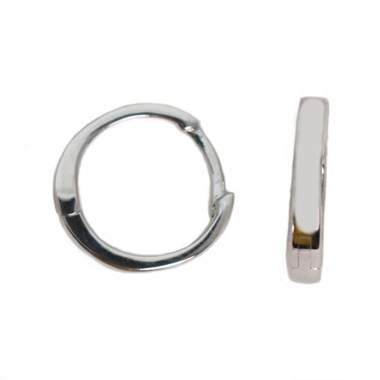 Wholesale Sterling Silver Smooth Huggies Hoop Earrings -13.5mm (Sold Per Pair)