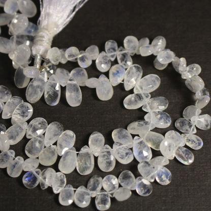Wholesale Semiprecious Gemstone Beads - 100% Genuine Rainbow Moonstone Gemstone Bead - Faceted Pear Shape - (Sold Per Strand)