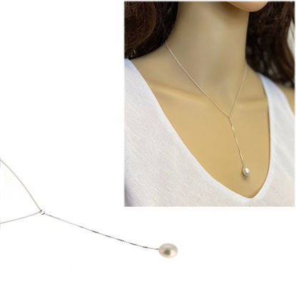 """Wholesale Sterling Silver Dangle Freshwater Pearl Necklace - 16"""""""