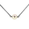 """Wholesale Oxidized Sterling Silver Floating Freshwater Pearl Necklace - 16-18"""""""
