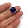 Wholesale Sterling Silver Bezel Gemstone Connector- Faceted Coin Shape -Blue Iolite Quartz