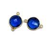 Wholesale Gold Over Sterling Silver Bezel Gemstone Link - Faceted Coin Shape - Blue Iolite Quartz