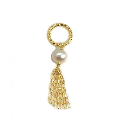 Wholesale Gold over Sterling Silver Tiny Twisted Ring Freshwater Pearl Tassel Charm Pendant