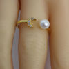 Wholesale Gold Over Sterling Silver Freshwater Pearl and Moon CZ Stone Open Ring - Adjustable (1 Piece)