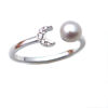 Wholesale Sterling Silver Freshwater Pearl and Moon CZ Stone Open Ring - Adjustable (1 Piece)
