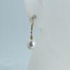 Wholesale 14K Yellow Gold White Freshwater Pearl Leverback Earrings-Teardop Pearls
