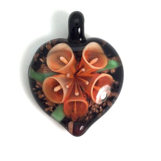 Wholesale Art Glass Pendant- Heart Shape - Orange Flower -35mm