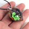 Wholesale Art Glass Pendant- Heart Shape - Purple Green Flower -35mm