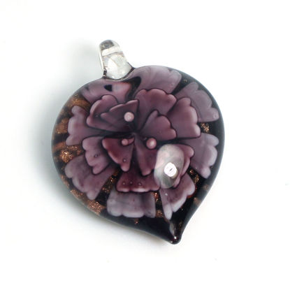 Wholesale Art Glass Pendant- Heart Shape - Purple Flower -39mm