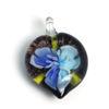 Wholesale Art Glass Pendant- Heart Shape - Blue Flower -39mm
