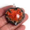 Wholesale Art Glass Pendant- Heart Shape - Big Orange Flower -40mm