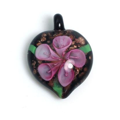 Wholesale Art Glass Pendant- Heart Shape - Pink Flower -38mm