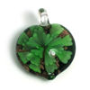 Wholesale Art Glass Pendant- Heart Shape - Big Green Flower -37mm